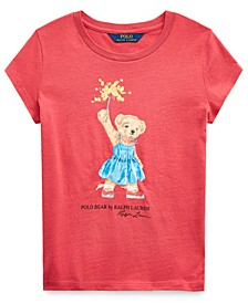 Big Girls Sparkler Bear Cotton T-Shirt