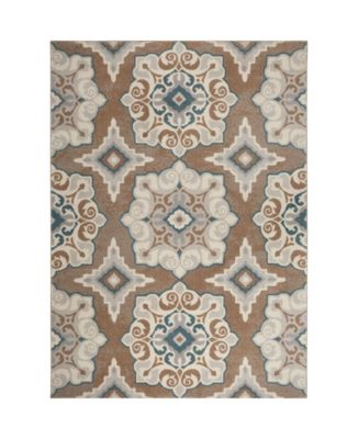 """Haven Hav11 Taupe and Blue 5'3"""" x 7'2"""" Area Rug"""