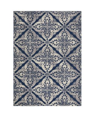 """Haven Hav12 Blue and Gray 6'6"""" x 9'6"""" Area Rug"""