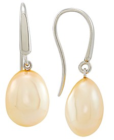 Golden Cultured Freshwater Baroque Pearl (11mm) Drop Earrings in Sterling Silver (Also in White)