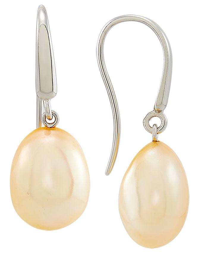 Macy's - Golden Cultured Freshwater Baroque Pearl (11mm) Drop Earrings in Sterling Silver (Also in White Cultured Freshwater Baroque Pearl)