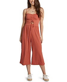 Juniors' Where You Move Textured Jumpsuit