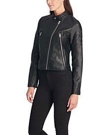 Faux Leather Quilted Racer Jacket