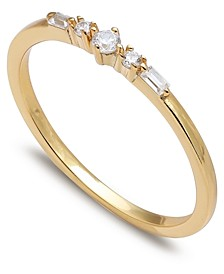 Cubic Zirconia Baguette Band in 18k Gold-Plated Sterling Silver, Created for Macy's