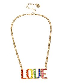"""Rainbow Stone LOVE Pendant Necklace in Gold-tone Metal, 16"""" + 3"""" Extender"""