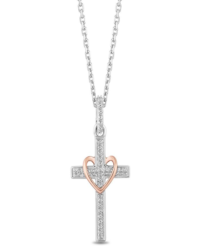 Hallmark Diamonds - Diamond Cross & Heart Pendant Necklace (1/10 ct. t.w.) in Sterlig Silver & 14k Rose Gold