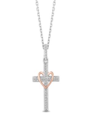 "Cross & Heart Blessings pendant (1/10 ct. t.w.) in Sterling Silver & 14k Rose Gold (16""+2"" extender)"
