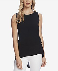 Women's Sleeveless Side Tie High Low Hem Blouse