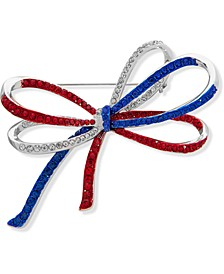Silver-Tone Pavé Red, White & Blue Bow Pin, Created for Macy's