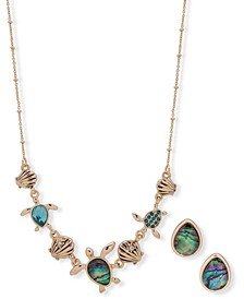Gold-Tone Pavé & Stone Turtle Statement Necklace & Stud Earrings Set, Created for Macy's