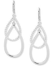 Silver-Tone Intertwined Double Drop Earrings