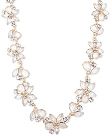 "Gold-Tone Pavé & Mother-of-Pearl Flower Collar Necklace, 16"" + 3"" extender"