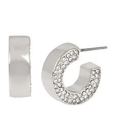 Silver-Tone Pave Flat Huggie Hoop Earrings