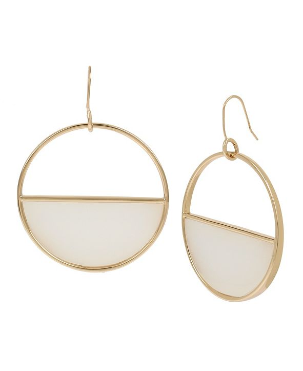 Kenneth Cole New York Gold-Tone Inlay Geometric Drop Earrings