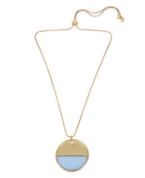 Kenneth Cole New York Gold-Tone Blocked Pendant Adjustable Slider Necklace