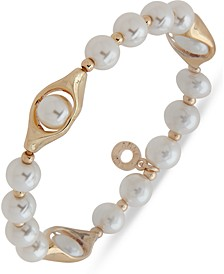 Gold-Tone Imitation Pearl Beaded Stretch Bracelet