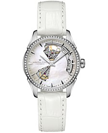 Women's Swiss Automatic Jazzmaster Open Heart Diamond 1/3 ct. t.w. White Leather Strap Watch 36mm