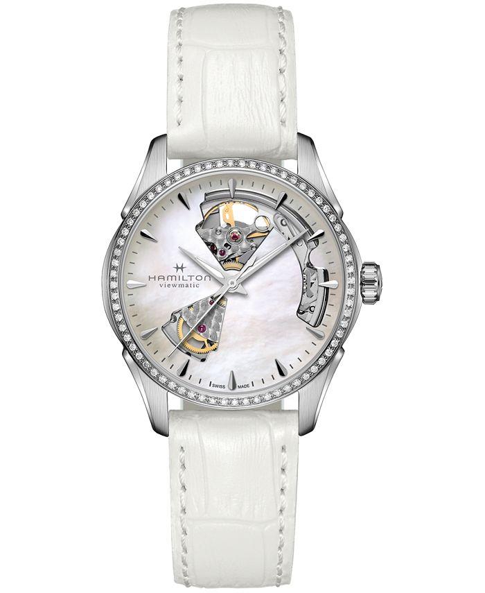 Hamilton - Women's Swiss Automatic Jazzmaster Open Heart Diamond 1/3 ct. t.w. White Leather Strap Watch 36mm