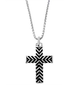 "EFFY® Men's Patterned Cross 22"" Pendant Necklace in Sterling Silver & Black Rhodium-Plate"