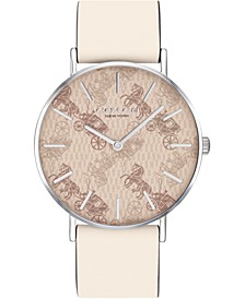 Women's Perry Chalk Leather Strap Watch 36mm, Created for Macy's