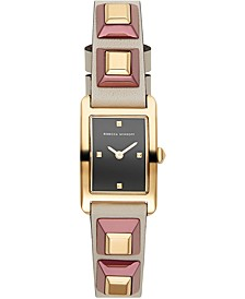 Women's Moment Gold-Tone Stud & Putty Leather Strap Watch 19x30mm