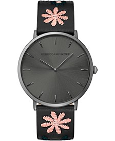 Women's Major Black Embroidered Leather Strap Watch 40mm