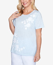 Asymmetric Floral Short Sleeve Knit Top with Novelty Neckline