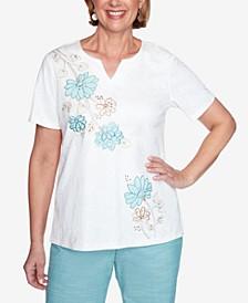 Short Sleeve Asymmetric Flower Applique Knit Top