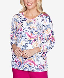 Three Quarter Sleeve Scroll Center Lace Knit Top