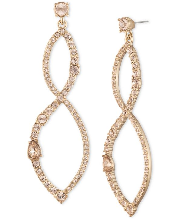 Givenchy Gold-Tone Crystal Twist Chandelier Earrings