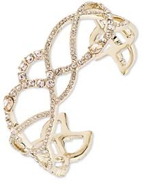 Gold-Tone Crystal Twist Cuff Bracelet