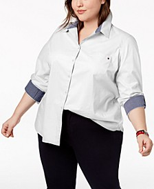 Plus Size Heritage Cotton Utility Shirt, Created for Macy's