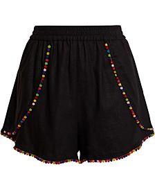 Pom-Pom-Trim Woven Shorts