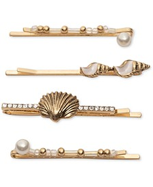 4-Pc. Gold-Tone Pavé, Bead & Imitation Pearl Shell Bobby Pin Set
