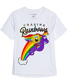 Juniors' Spongebob Chasing Rainbows Graphic T-Shirt