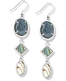 Silver-Tone Abalone & Geode-Look Stone Triple Drop Earrings