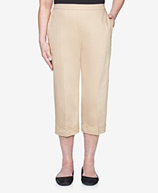 Plus Size Pull On Back Elastic Sateen Capri