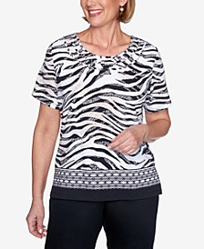 Plus Size Zebra Print Short Sleeve Knit Top