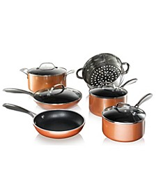 Cast Textured Coating Ultra-Durable Nonstick 10-Pc. Cookware Set