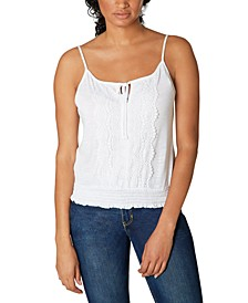 Juniors' Lace-Trim Smocked-Bottom Tank Top