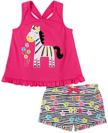 Toddler Girls 2-Piece Zebra Top and Printed French Terry Shorts Set