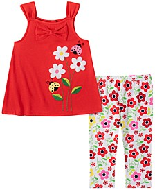 Little Girls 2-Pc. Ladybug Top & Printed Leggings Set