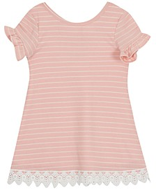 Toddler Girls Striped Lace-Trim Dress