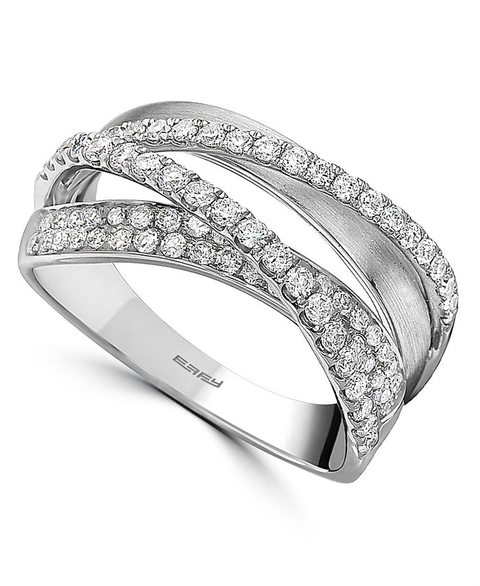 EFFY Collection - Diamond Crossover Statement Ring (5/8 ct. t.w.) in 14k White Gold