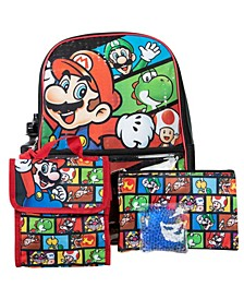Mario Backpack, 5 Piece Set
