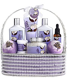9 Piece Home Spa Lavender Coconut Body Care Gift Set