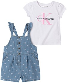 Baby Girls 2-Pc. Logo Top & Printed Chambray Coveralls