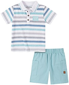 Baby Boys 2-Pc. Striped Polo & Shorts Set