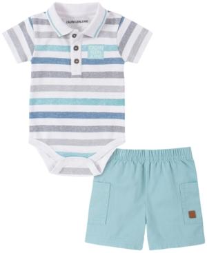Calvin Klein Baby Boys 2-Pc. Striped Polo & Shorts Set