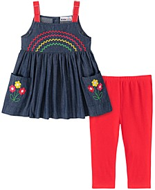 Baby Girls 2-Pc. Denim Rainbow Tunic & Leggings Set